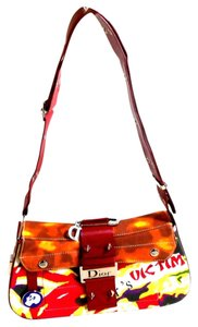 Dior Victim Limited Edition Red White Multi Leather Canvas Shoulder ... db34a826addf2
