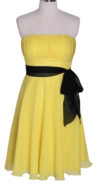 Preload https://item2.tradesy.com/images/yellow-strapless-chiffon-pleated-bust-knee-length-cocktail-dress-size-4-s-916796-0-0.jpg?width=400&height=650
