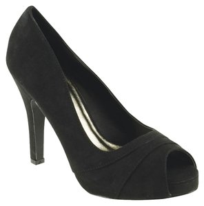 Red Circle Footwear Peep Toe Pleated Pump Black Platforms