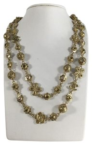 Chanel Gold Charm Pearl Necklace