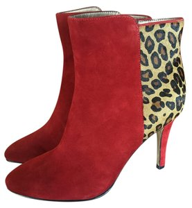 Chico's Animal Print Size 9 Chic 3-4 Inch Heels red suede w/ cheetah dyed calf fur Boots