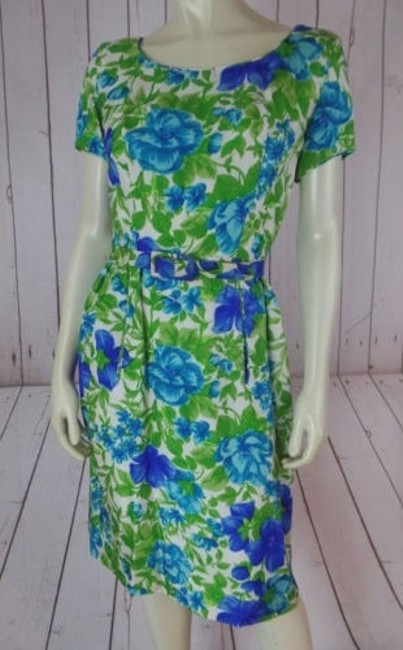 Preload https://img-static.tradesy.com/item/9168811/vintage-dress-4-white-blue-green-floral-defined-waist-belted-1950s-retro-0-0-650-650.jpg
