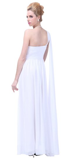 White Chiffon Draped One Shoulder Pleated Goddess Long Formal Destination Wedding Dress Size 20 (Plus 1x)