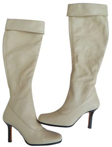 Chanel Tall Leather Cuffed Logo Cream Boots