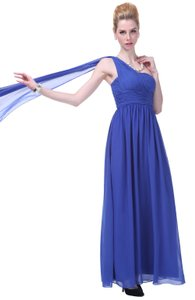 Blue Draped One Shoulder Pleated Goddess Long Formal Dress