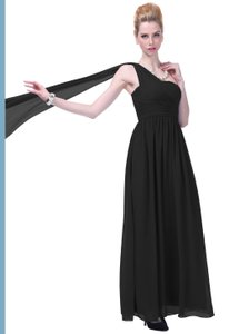 Black Chiffon Draped One Shoulder Pleated Goddess Long Formal Sexy Bridesmaid/Mob Dress Size 14 (L)