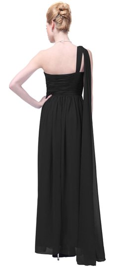 Black Chiffon Draped One Shoulder Pleated Goddess Long Formal Sexy Dress Size 14 (L)