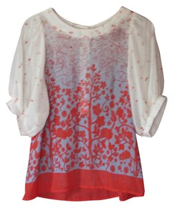 Faith Love Passion Translucent Top Ivory and Red Print