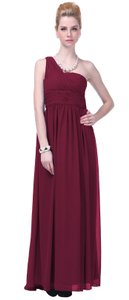 Red Burgundy Draped One Shoulder Pleated Goddess Long Formal Dress