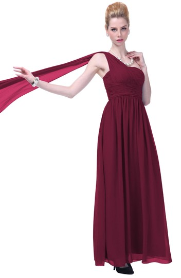 Red Chiffon Burgundy Draped One Shoulder Pleated Goddess Long Formal Feminine Bridesmaid/Mob Dress Size 8 (M)
