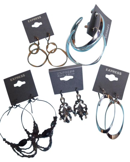 Preload https://img-static.tradesy.com/item/9169657/express-silver-gold-black-five-pairs-of-new-with-tags-earrings-0-6-540-540.jpg