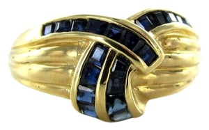 14K YELLOW SOLID GOLD RING SZ 8 SAPPHIRE COLOR STONES LINE DESIGN WEDDING BAND
