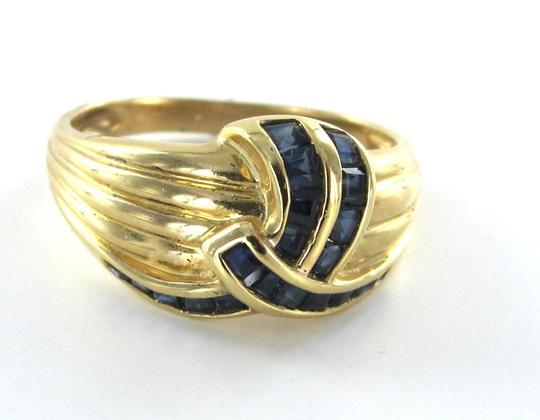 Other 14K YELLOW SOLID GOLD RING SZ 8 SAPPHIRE COLOR STONES LINE DESIGN WEDDING BAND
