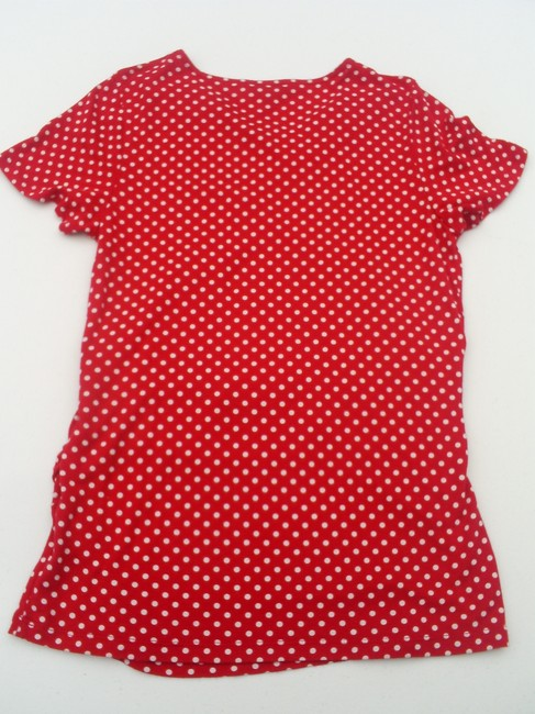 Talbots Petite Short Sleeve Polka Dot Stretchy Top Red