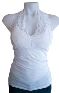 Bozzolo Lace White Halter Top