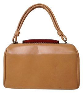 Vintage Faux Leather Satchel in Tan