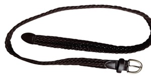 Dark brown Braided Belt with chrome buckle