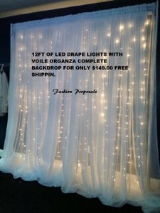 White 12 Ft Wide Led Backdrop Lights with Voile Organza Drapes Led Backdrops Drapes Complete Set Sale Canopy/Chuppah