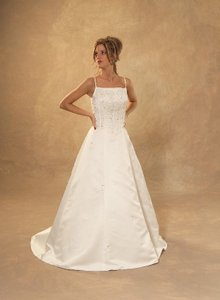 White Satin Corset Style Top Traditional Wedding Dress Size 6 (S)
