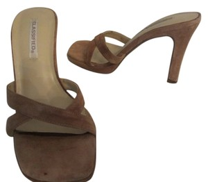 Classified Suede 4 Inch Heel Tan Mules