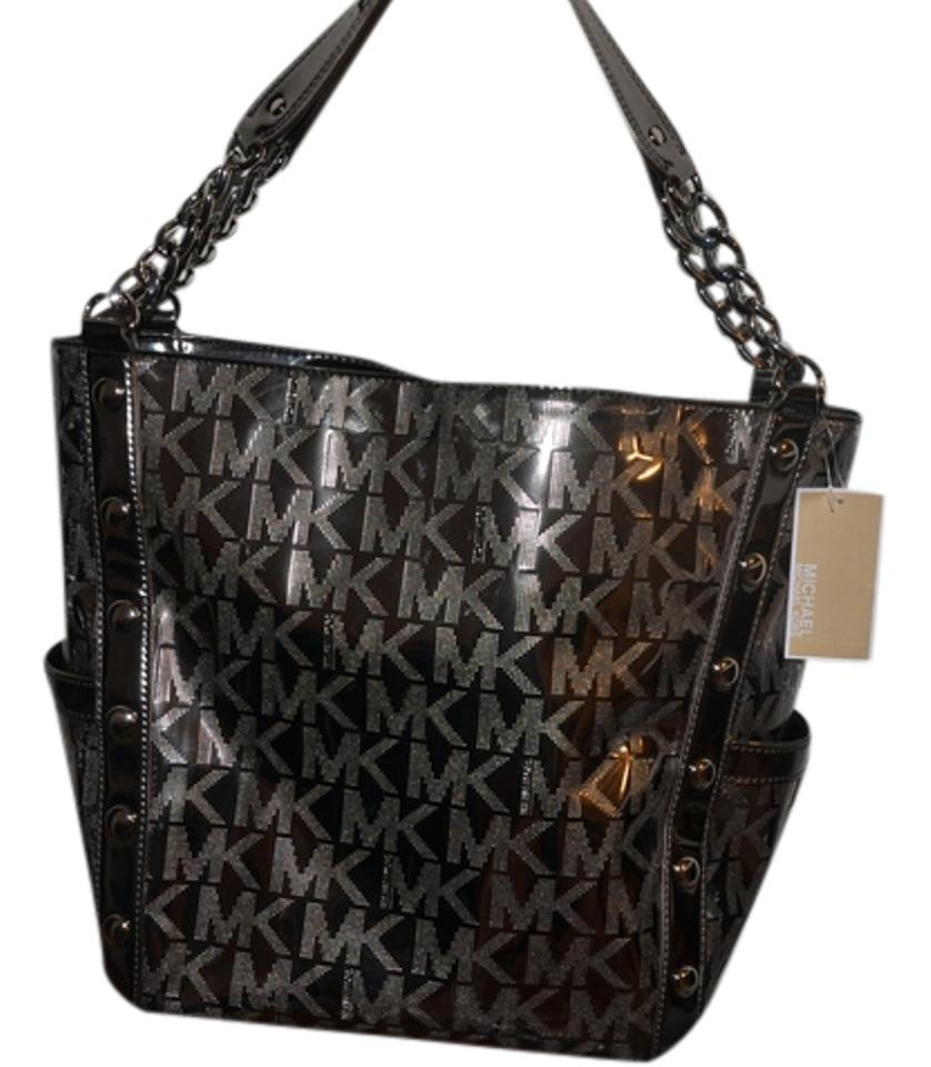 80237d5efda4 Michael Kors Delancy Tote Mono Mirror Metallic Nickel Leather ...