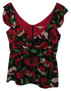 Nanette Lepore Top Red, black, and white floral print