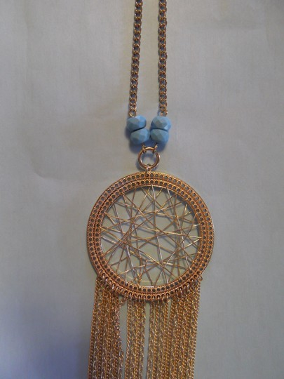 Express Gold Dreamcatcher with Turquoise Necklace