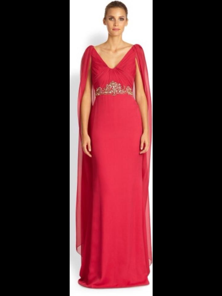 785f73c0ae6 Marchesa Notte Pink Cape-back Embellished Silk-chiffon Gown Long ...
