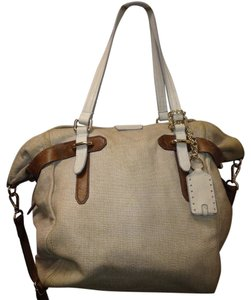 Olivia Harris Leather Tote in BEIGE/BROWN