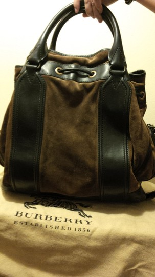 Burberry Suede Bronze Tote in Brown