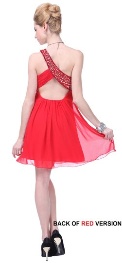 Red Chiffon Dazzling Beaded Sequins One-shoulder Open-back Sexy Bridesmaid/Mob Dress Size 2 (XS)