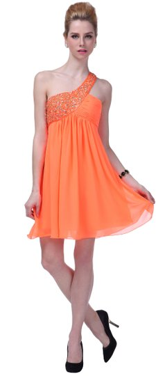 Orange Chiffon Dazzling Beaded Sequins One-shoulder Open-back Retro Bridesmaid/Mob Dress Size 12 (L)