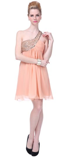 Peach Chiffon Dazzling Beaded Sequins One-shoulder Open-back Modern Bridesmaid/Mob Dress Size 0 (XS)