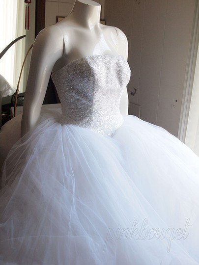 Oleg Cassini Diamond White Tulle Cu099 Modern Wedding Dress Size 2 (XS)