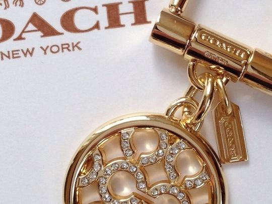 Coach (2) Key RING/ Purse Fobs Pierced 'C' Op Art Pave Crystal & Pave Crystal Letters
