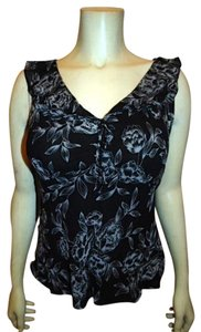 Ann Taylor Silk Dress Sleeveless Floral Print Lined Mint Condition P559 Top BLACK AND WHITE