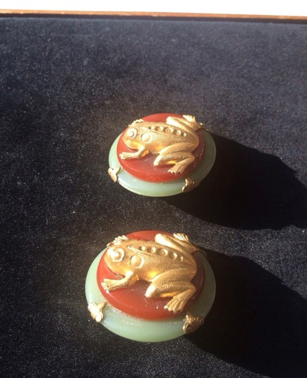 Vintage Golden Frog And Resin Earrings