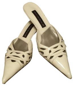 Steven by Steve Madden White Patent Leather Mules