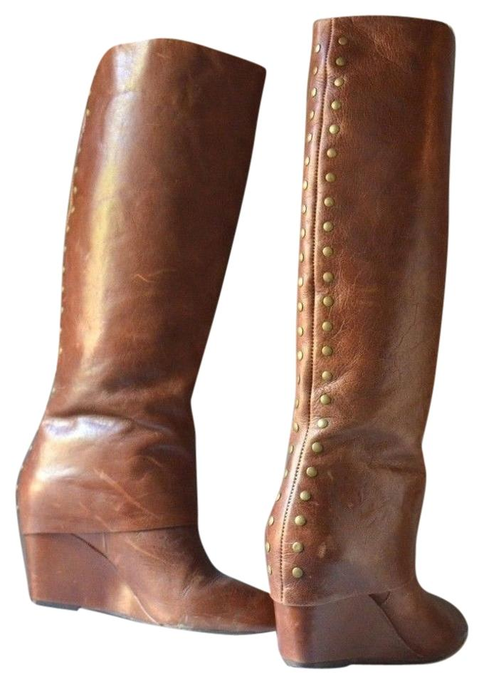 2cf0ccd403b Steve Madden Brown Tall Genuine Leather Folded Wedge with Gold Metal Studs  Boots/Booties Size US 6 Regular (M, B)