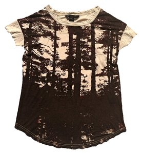 Marc by Marc Jacobs Photorealistic Print Screenprint Forest Pima Cotton Oversized Loose Tree T Shirt beige/rust brown