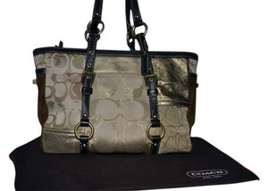 Coach Tote in Brown - Gold Patchwork