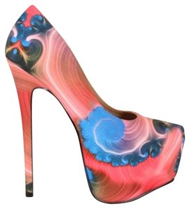 Heels Pink Blue Multi Pumps