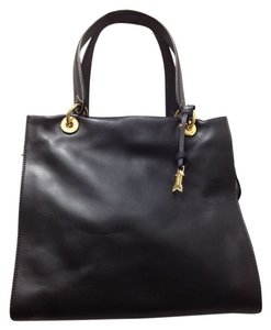 GOLD PFEIL Leather Hand Chic Sophisticates Classic Work Office Career Germany European Tote in BLACK