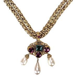 Chanel Chanel Vintage Gripoix Pearl Gold Necklace