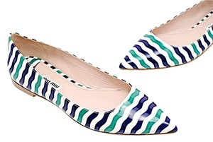 Miu Miu Patent Fashion White Purple & Green Flats