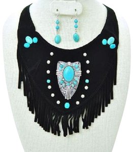 Bohemian Chic Tribal Suede Fringe Turquoise Stone Necklace and Earrings