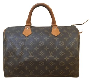 Louis Vuitton Leather Monogram Satchel in Brown