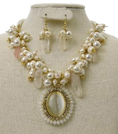Preload https://img-static.tradesy.com/item/9187852/cream-ivoryclear-semiprecious-pearl-and-tiger-eye-and-earrings-necklace-0-2-540-540.jpg