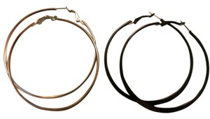 Two pairs Large hoop earrings