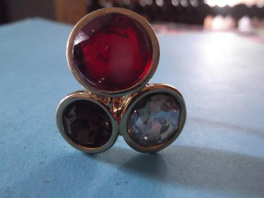 Express Gold tone Express Ring with stones, red, amber and white